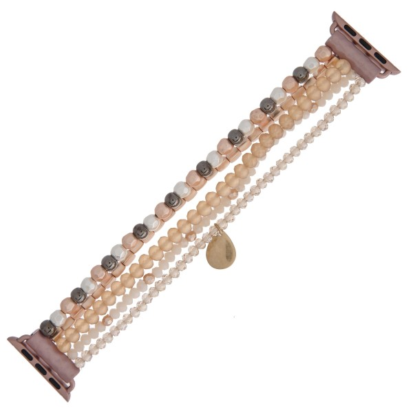 "Interchangeable multi strand semi precious beaded smart watch bracelet featuring a teardrop accent. WATCH NOT INCLUDED. Approximately 3"" in diameter. Fits up to a 6"" wrist.  - Fits 38mm watch face"