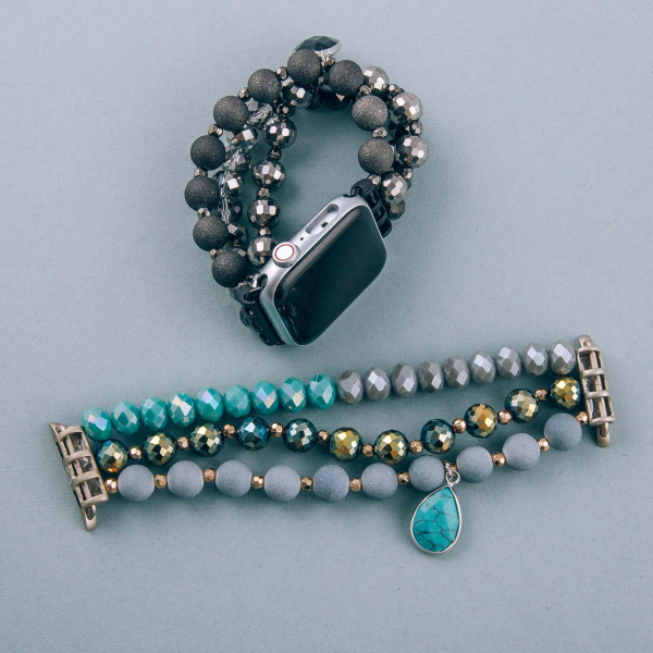 """Interchangeable semi precious beaded stretch smart watch band/bracelet featuring acrylic and faceted bead details with a natural stone teardrop charm. WATCH NOT INCLUDED. Approximately 4.5"""" in diameter. Fits up to a 7"""" wrist.   - 38mm"""