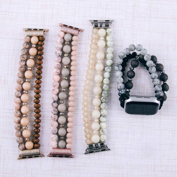 "Interchangeable semi precious beaded stretch smart watch band/bracelet for smart watches only with natural stone details. Approximately 4.5"" in diameter. Fits up to a 7"" wrist.   -38mm"