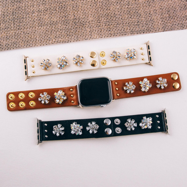 """Interchangeable faux leather smart watch band for smart watches featuring rhinestone flower accents. WATCH NOT INCLUDED. Approximately 9.75"""" in length.  - 38mm - Adjustable closure"""