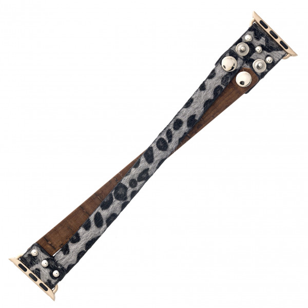 "Interchangeable fur leopard print faux leather and cork inspired smart watch band for smart watches. WATCH NOT INCLUDED. Approximately 9.75"" in length.  - 38mm - Adjustable closure"