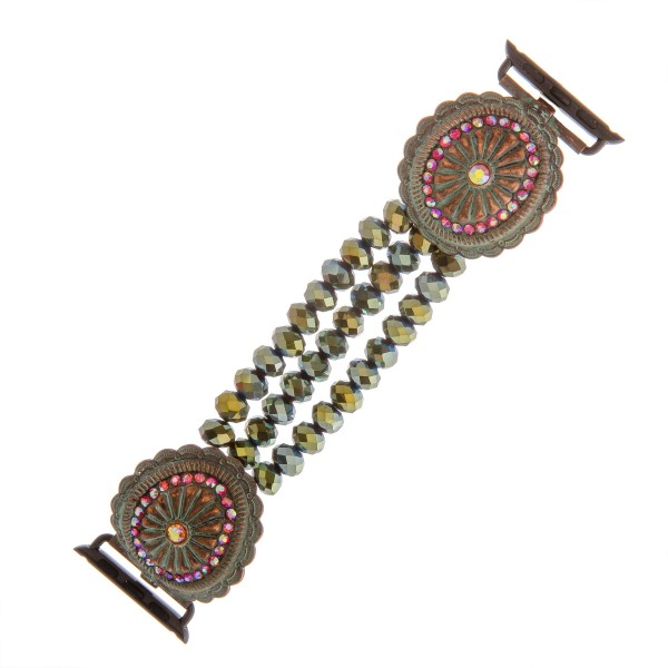 "Interchangeable multi strand beaded stretch smart watch band/bracelet featuring an antique patina rhinestone flower detail.  - Fits watch face size 38mm  - Watch Not Included - Approximately 3"" in diameter  - Fits up to a 6"" wrist"