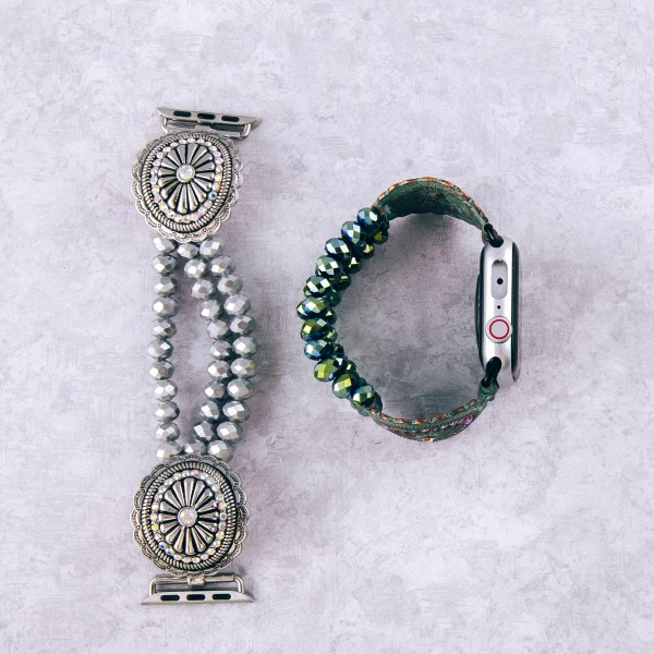 "Interchangeable multi strand beaded stretch smart watch band/bracelet featuring an antique silver rhinestone flower detail.  - Fits watch face size 38mm  - Watch Not Included - Approximately 3"" in diameter  - Fits up to a 6"" wrist"