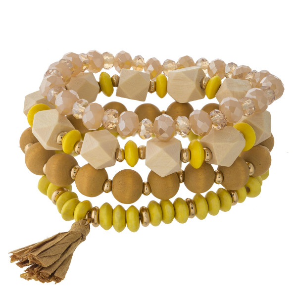 Wholesale wood beaded stretch bracelet set faceted bead details raffia tassel ac
