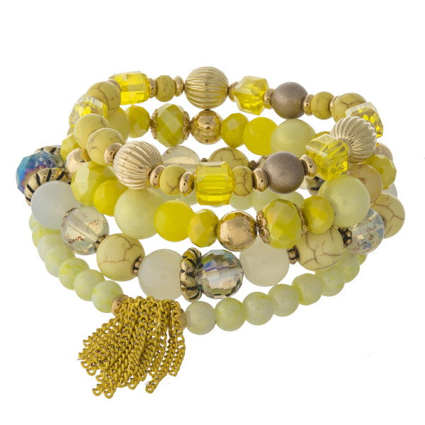 Wholesale natural stone iridescent faceted beaded stretch bracelet set gold bead