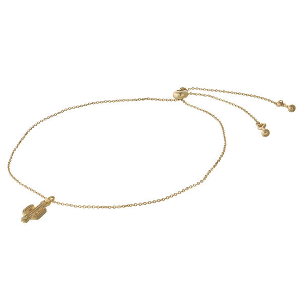 """Dainty cable chain anklet featuring a cactus charm with an adjustable slider closure. Fits up to an 8"""" ankle."""