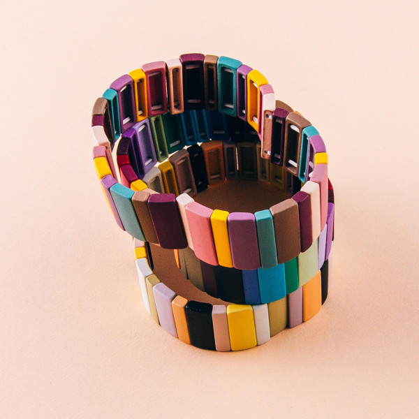 """Resin block stretch bracelet. Approximately 3"""" in diameter. Fits up to a 6"""" wrist."""