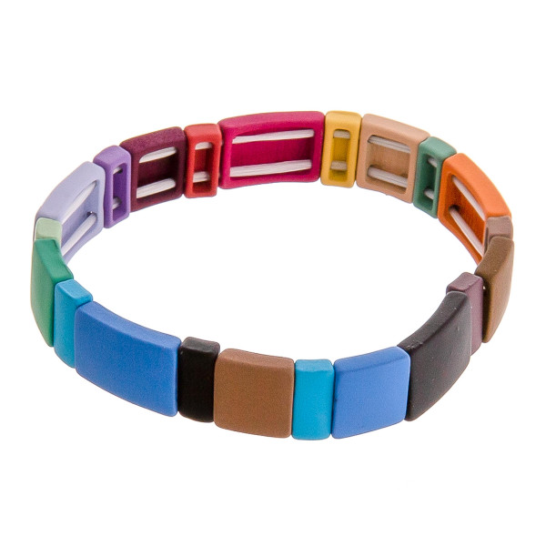 "Color-block stretch bracelet. Approximately 3"" in diameter unstretched. Fits up to a 6"" wrist."