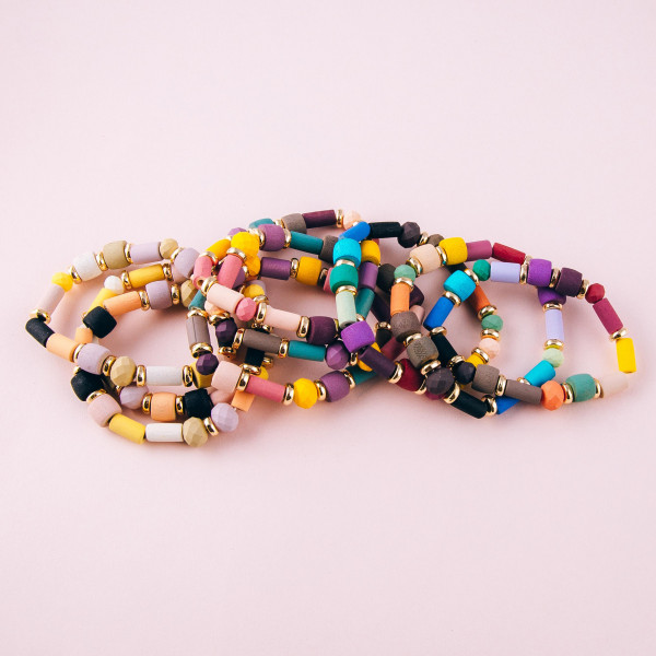 """Color block beaded stretch bracelet set. Approximately 3"""" in diameter unstretched. Fits up to a 6"""" wrist."""