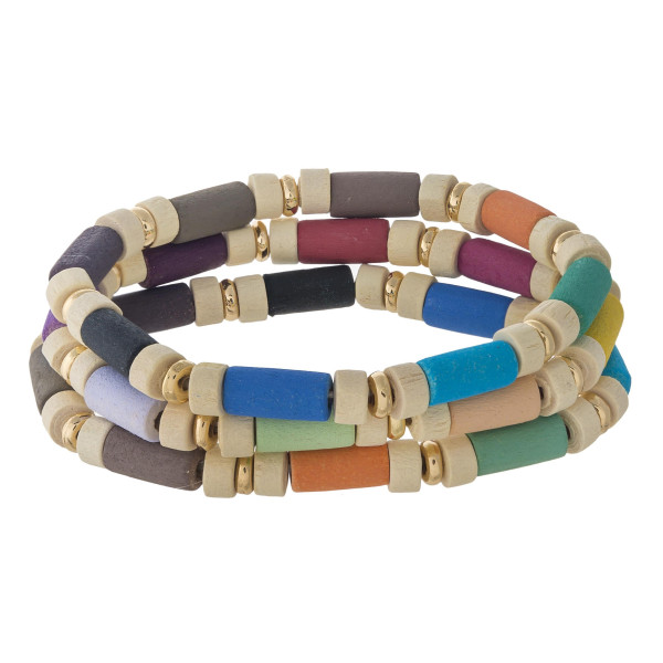 "Wood inspired color block stretch bracelet. Approximately 3"" in diameter unstretched. Fits up to a 6"" wrist."