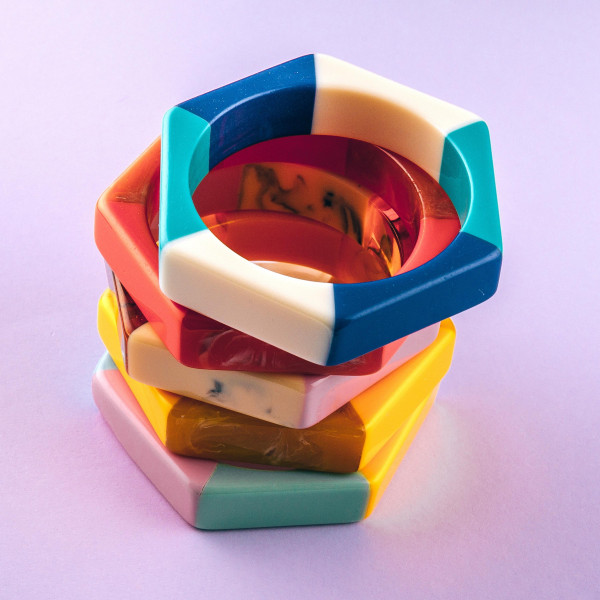 """Resin inspired block bracelet. Approximately 3"""" in diameter. Fits up to a 6"""" in wrist."""