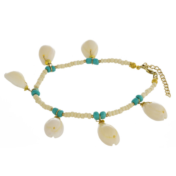 """Beaded anklet featuring puka shell accents. Approximately 4"""" in diameter. Fits up to a 8"""" ankle."""
