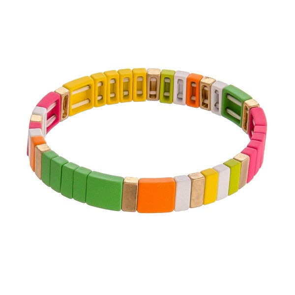 "Color block stretch bracelet. Approximately 3"" in diameter unstretched. Fits up to a 6"" wrist."