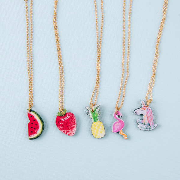 """Dainty cable chain anklet featuring a wood watermelon fruit charm. Approximately 6"""" in diameter."""