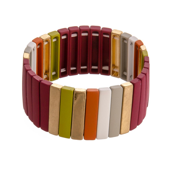 """Color block stretch bracelet. Approximately 3"""" in diameter unstretched. Fits up to a 6"""" wrist."""