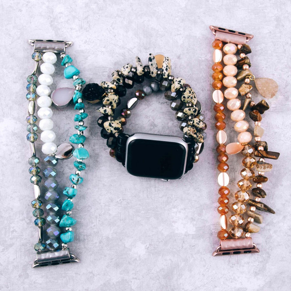"""Interchangeable semi precious beaded smart watch band/bracelet for smart watch only with natural stone details. Approximately 4.5"""" in diameter. Fits up to a 7"""" wrist.  - 38mm"""