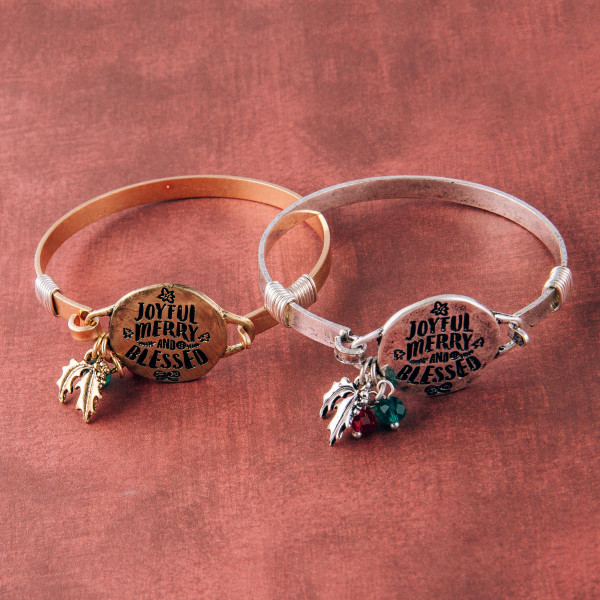 """""""Joyful Merry & Blessed"""" engraved bangle charm bracelet. Approximately 2.5"""" in diameter. Fits up to a 5"""" wrist."""