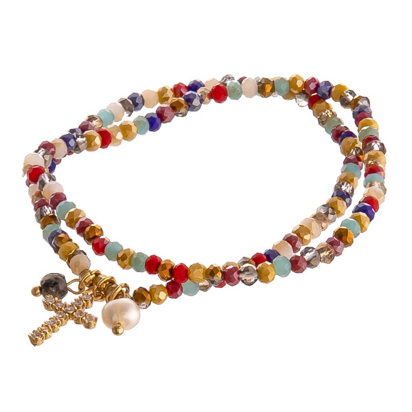 """Beaded stretch bracelet set featuring cross and pearl accents. Approximately 3"""" in diameter unstretched. Fits up to a 6"""" wrist."""