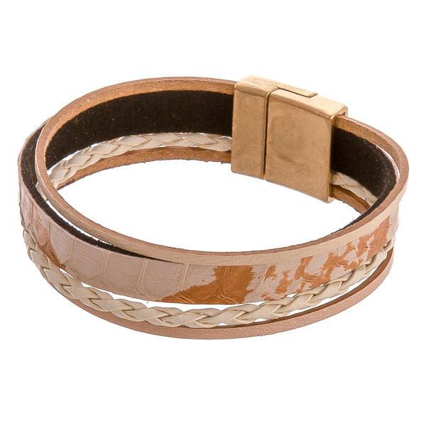 "Multi stand metallic accented genuine leather magnetic bracelet. Approximately 3"" in diameter. Fits up to a 6"" wrist."