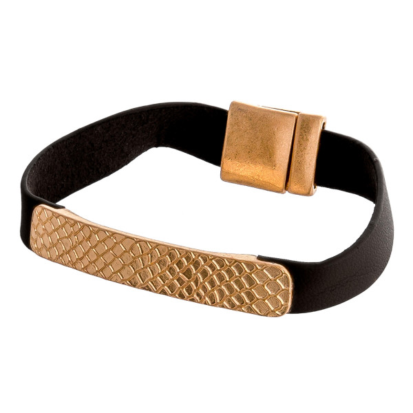 """Faux leather bracelet featuring a gold bar focal with magnetic closure. Approximately 3"""" in diameter. Fits up to a 6"""" wrist."""