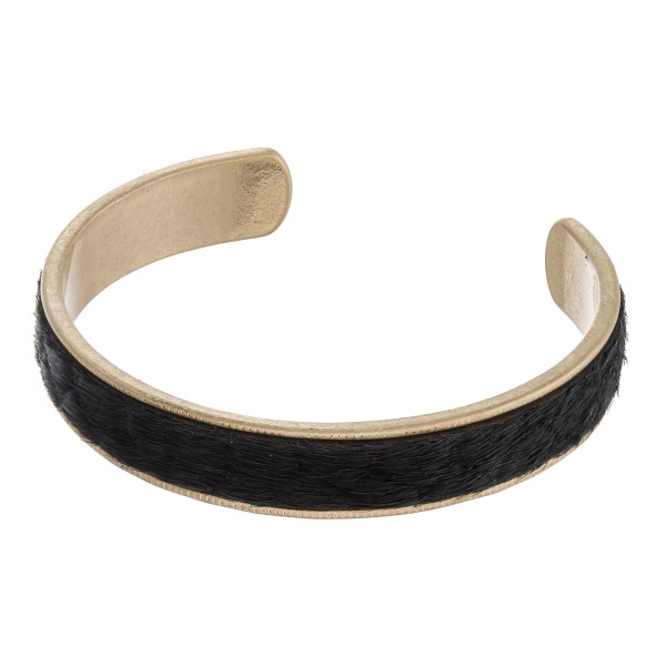 """Fur faux leather snakeskin metal encased cuff bracelet. Approximately 2.5"""" in diameter. Fits up to a 5"""" wrist."""