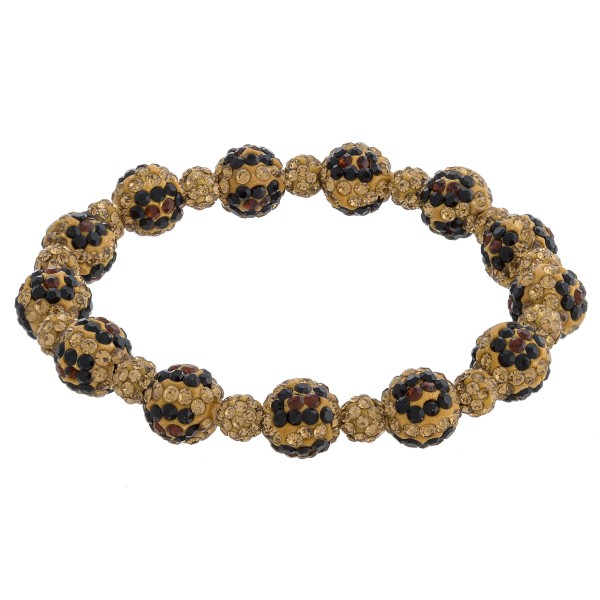 """Leopard print rhinestone studded beaded stretch bracelet. Approximately 3"""" in diameter unstretched. Fits up to a 6"""" wrist."""