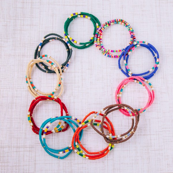 """Dainty spacer beaded stretch bracelet set of three. Approximately 3"""" in diameter unstretched. Fits up to a 6"""" wrist."""