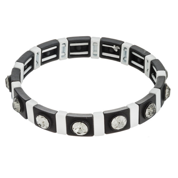 """Two tone rhinestone color stretch bracelet. Approximately 3"""" in diameter unstretched. Fits up to a 6"""" wrist."""