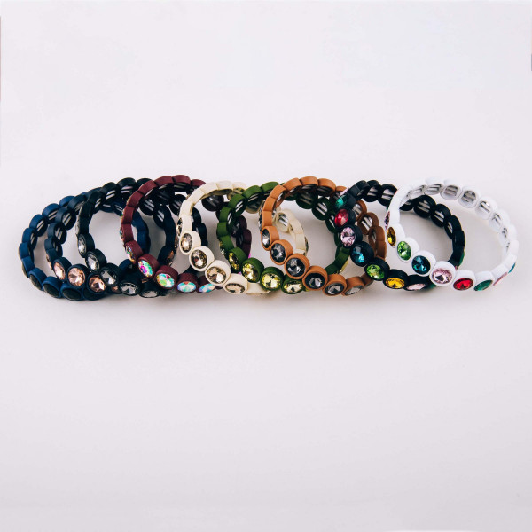"""Rhinestone encased beaded stretch bracelet. Approximately 3"""" in diameter unstretched. Fits up to a 6"""" wrist."""