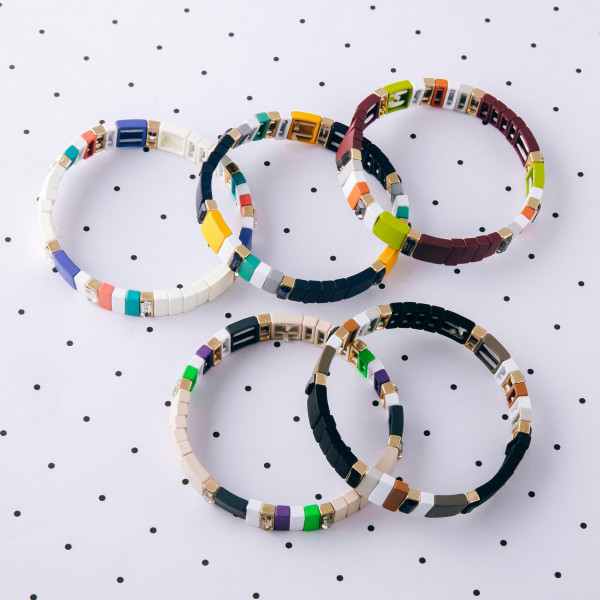 """Multicolor rhinestone color block stretch bracelet.   - Approximately 3"""" in diameter unstretched - Fits up to a 6"""" wrist"""