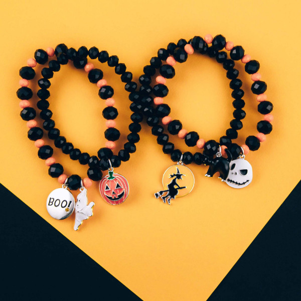 "Halloween ""Nightmare Before Christmas"" charm beaded stretch bracelet set. Approximately 3"" in diameter. Fits up to 6"" wrist."