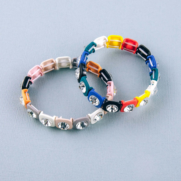 """Rhinestone color block stretch bracelet. Approximately 3"""" in diameter. Fits up to a 6"""" wrist."""