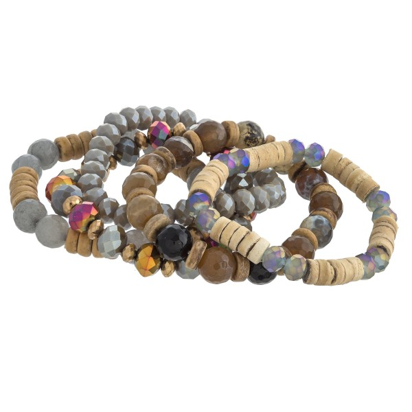 """Semi precious wood beaded stretch bracelet set. Approximately 3"""" in diameter unstretched. Fits up to a 6"""" wrist."""