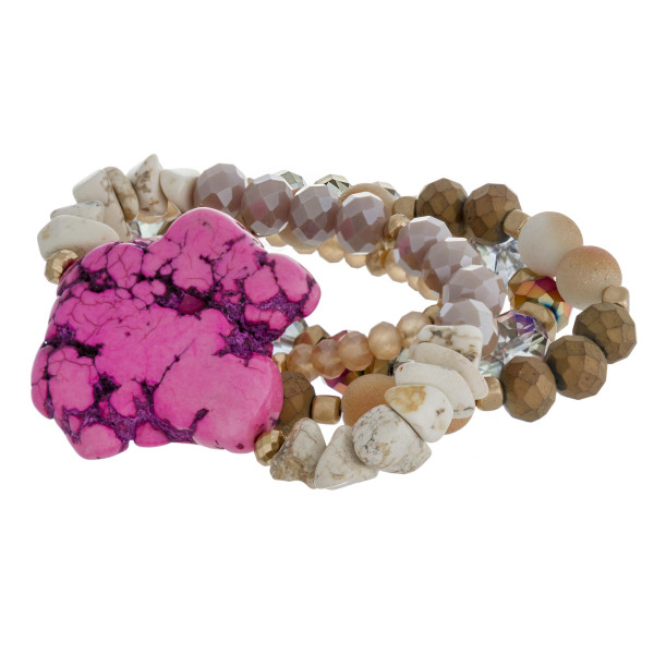 """Semi precious beaded natural stone stretch bracelet set of four. Approximately 3"""" in diameter unstretched. Fits up to a 6"""" wrist."""
