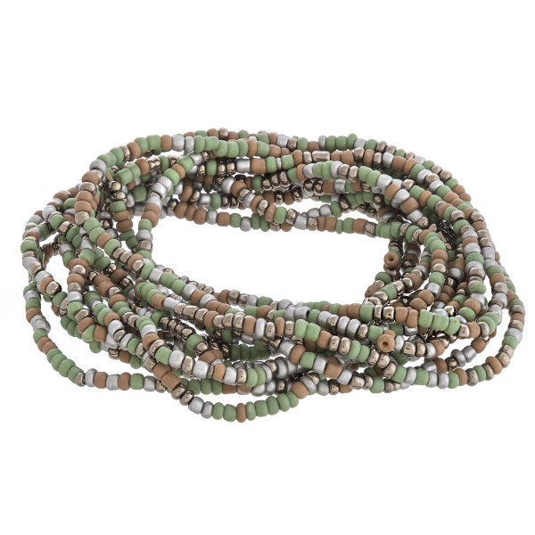 """Multicolor seed beaded boho stretch bracelet set. Approximately 3"""" in diameter unstretched. Fits up to a 6"""" wrist."""