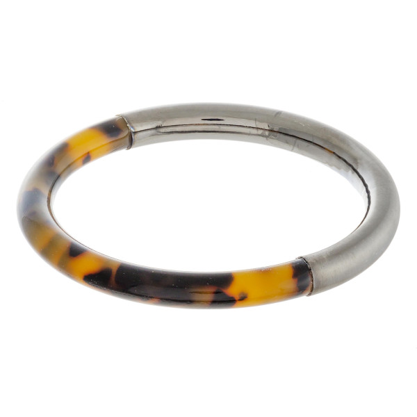 """Marble resin and metal bangle bracelet. Approximately 3"""" in diameter. Fits up to a 6"""" wrist."""