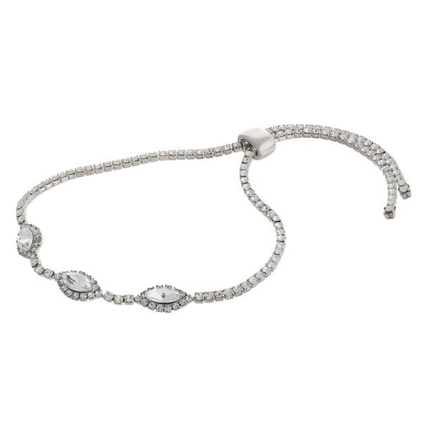 "Rhinestone cubic zirconia slider bracelet. Approximately 3"" in diameter with adjustable slide closure."