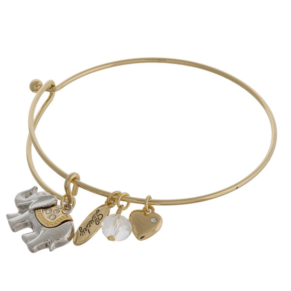 """Two tone elephant charm bangle bracelet with hook closure. Approximately 3"""" in diameter. Fits up to a 6"""" wrist."""