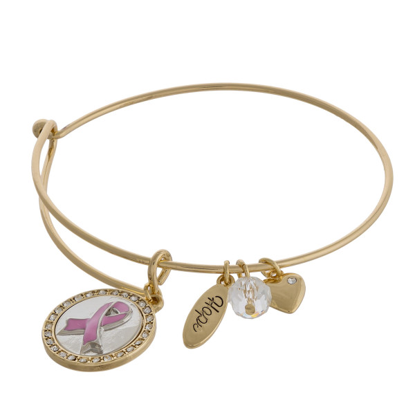 """Breast Cancer Awareness charm bangle bracelet with hook closure. Approximately 3"""" in diameter. Fits up to a 6"""" wrist."""
