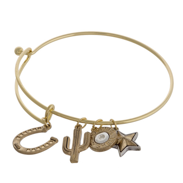 """Two tone western style charm bangle bracelet with hook closure. Approximately 3"""" in diameter. Fits up to a 6"""" wrist."""