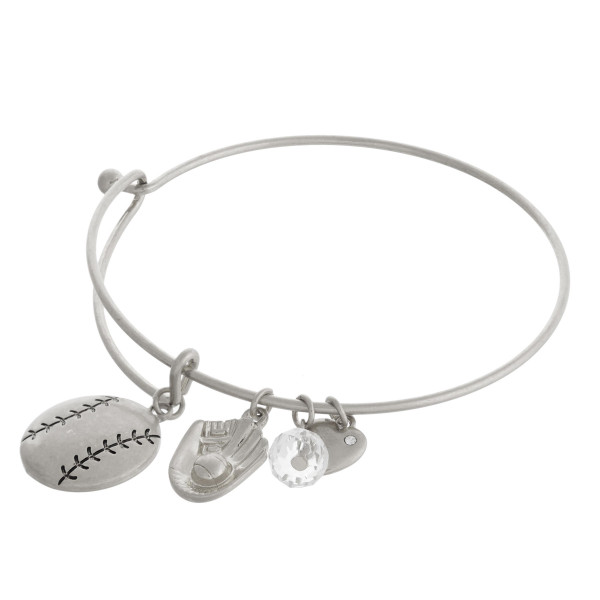 "Silver baseball charm bangle bracelet with hook closure. Approximately 3"" in diameter. Fits up to a 6"" wrist."