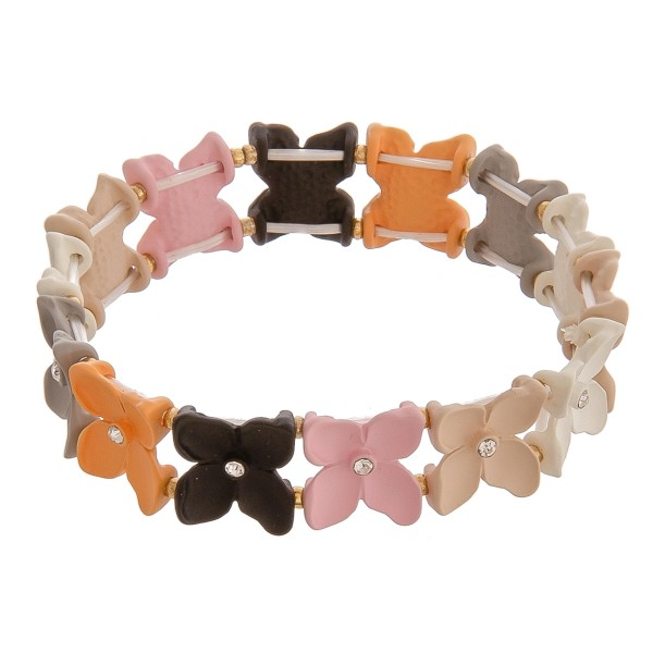 """Multicolor flower color block beaded stretch bracelet with rhinestone accents.   - Approximately 3"""" in diameter unstretched - Fits up to a 6"""" wrist"""