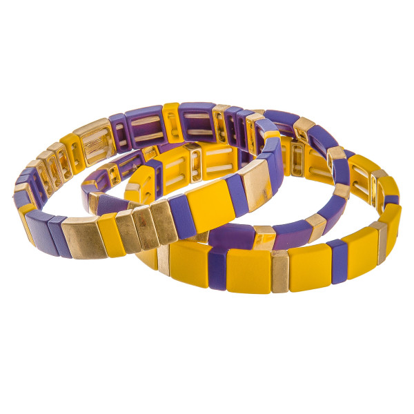 "Color coated Game day color block stretch bracelet set of three.  - Approximately 3"" in diameter unstretched  - Fits up to a 6"" wrist"