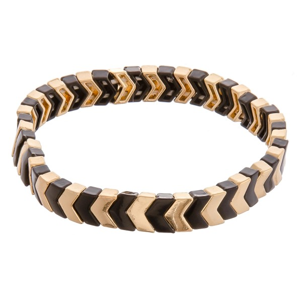 """Two tone metal color chevron beaded stretch bracelet.   - Approximately 3"""" in diameter unstretched - Fits up to a 6"""" wrist"""
