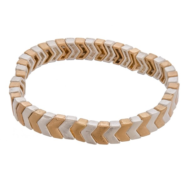 """Two tone chevron beaded stretch bracelet. Approximately 3"""" in diameter unstretched. Fits up to a 6"""" wrist."""