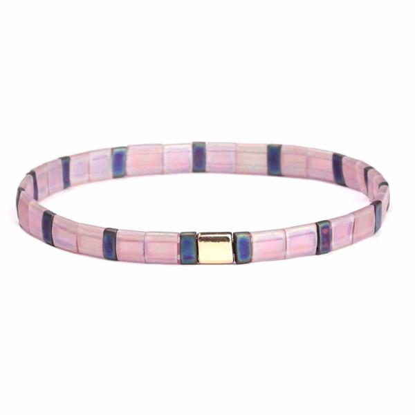 "Matte multicolored Miyuki Tila bead stretch bracelet. Approximately 3"" in diameter. Fits up to a 6"" wrist."