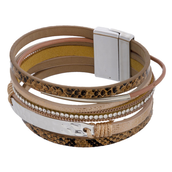 """Multi strand faux leather snakeskin magnetic bracelet featuring rhinestone and metal accents. Approximately 3"""" in diameter and 1"""" in width. Fits up to a 6"""" wrist."""