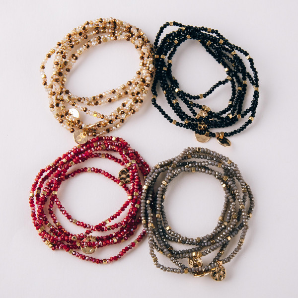 """Boho charm beaded wrap bracelet set of three makes six strands. Approximately 3"""" in diameter unstretched. Fits up to a 6"""" wrist."""