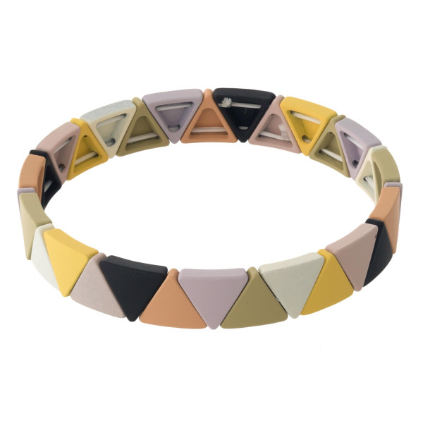 """Triangle color block stretch bracelet. Approximately 3"""" in diameter unstretched. Fits up to a 6"""" wrist."""