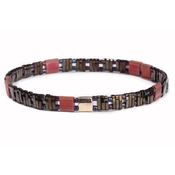 "Metallic multicolored Miyuki Tila bead stretch bracelet. Approximately 3"" in diameter. Fits up to a 6"" wrist."